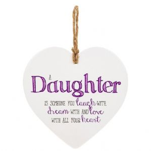 'Daughter Is Someone You Laugh With......... Ceramic Heart Shaped Hanging Sign...